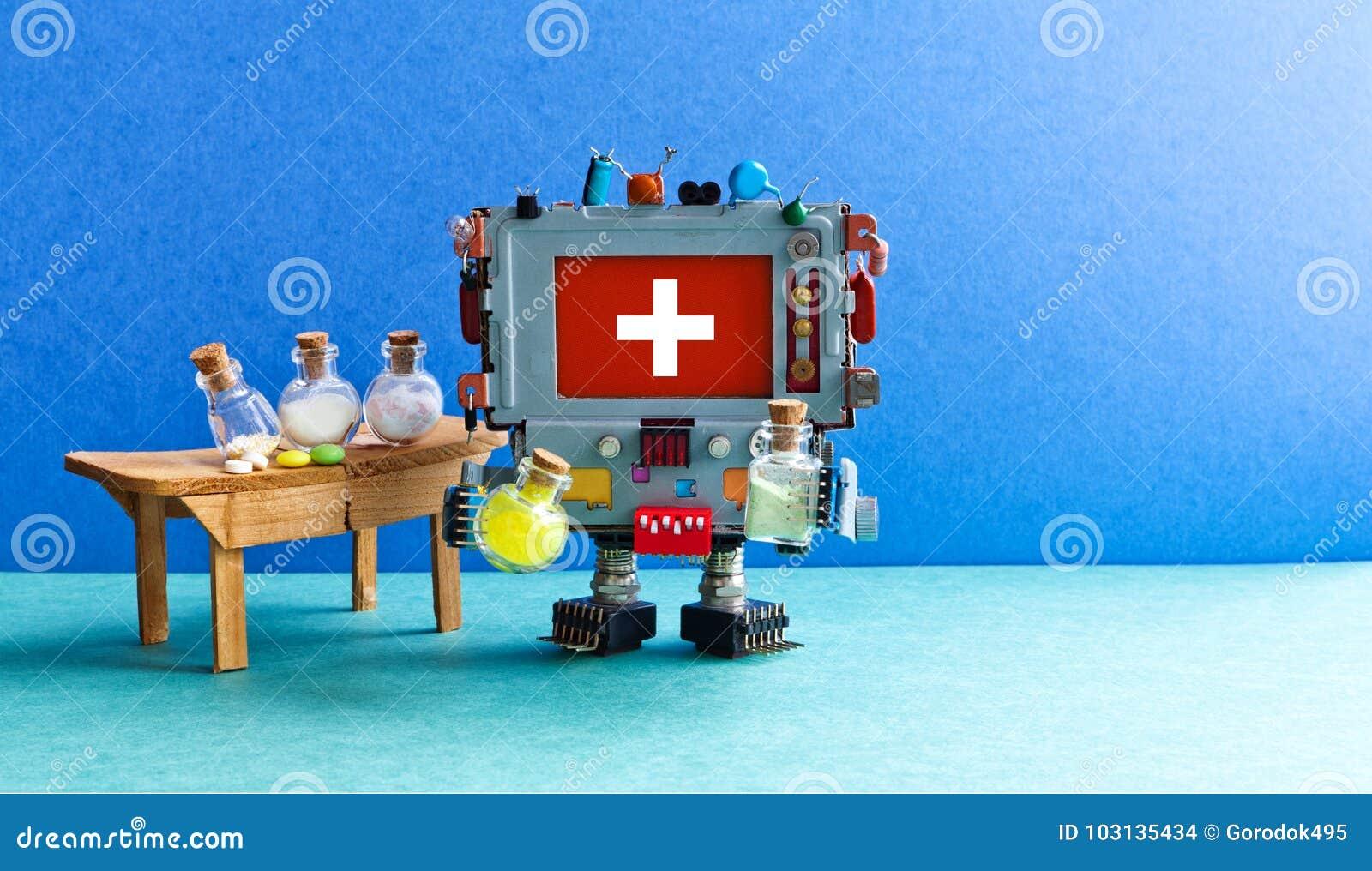 Robô do médico que testa drogas experimentais Interior farmacêutico do laboratório da biotecnologia, computador do farmacêutico d