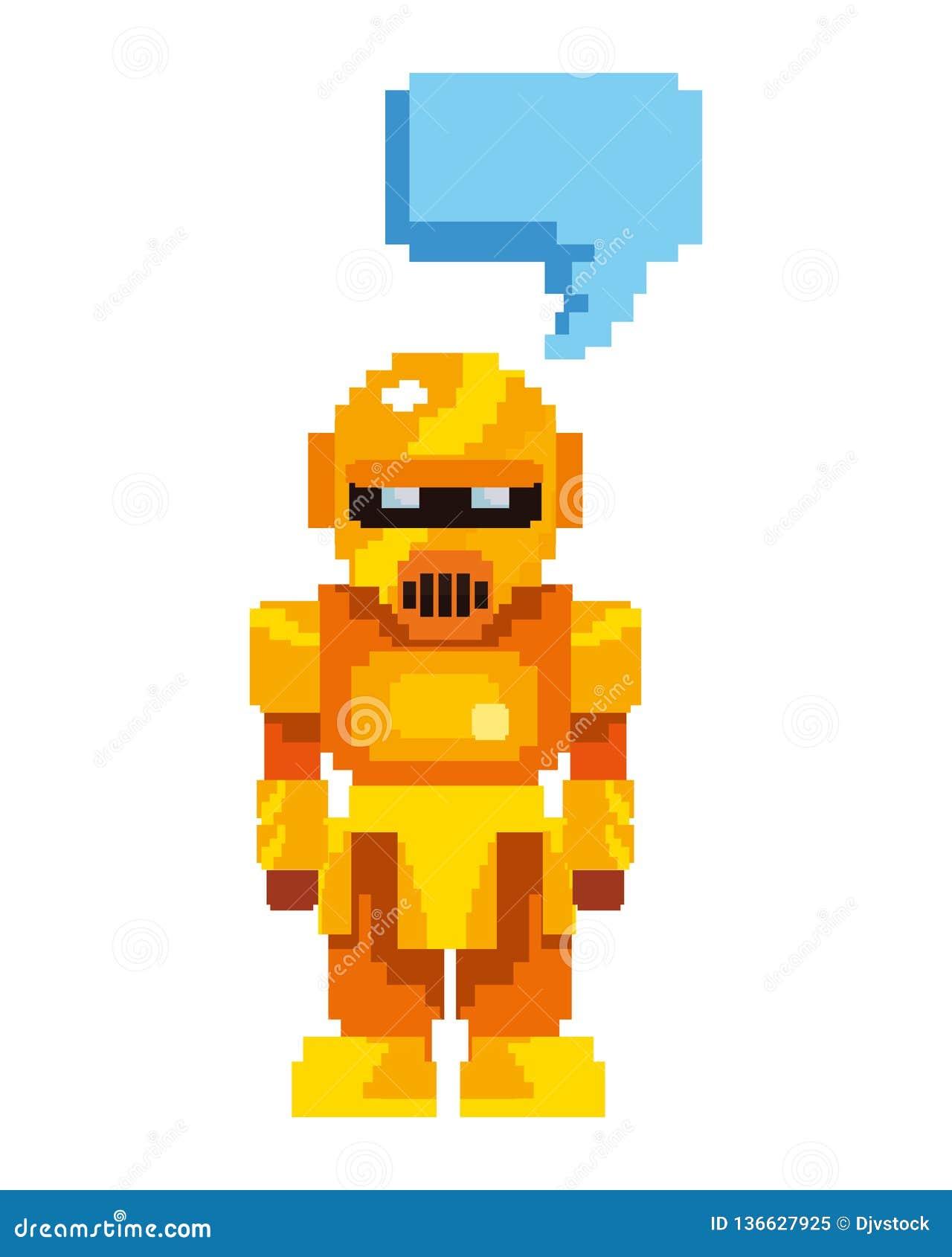 Robô do ouro do jogo de vídeo do pixel