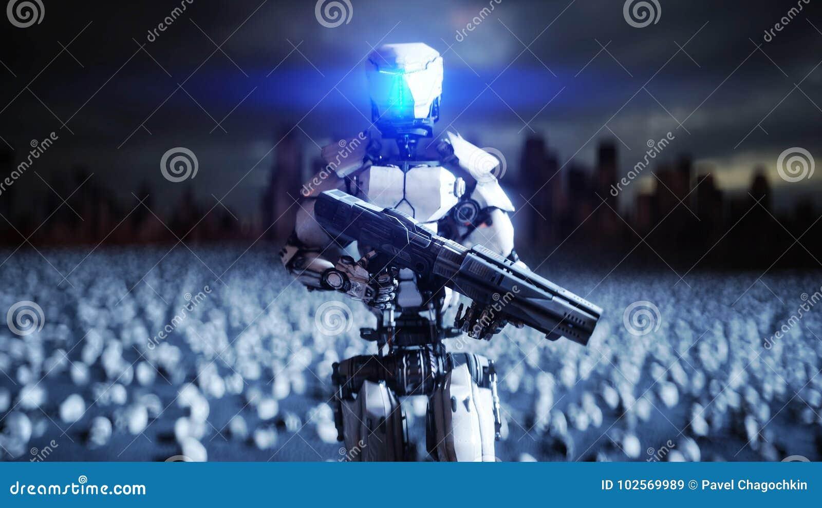 Robô e crânios militares dos povos Conceito realístico super do apocalipse dramático Elevação das máquinas Futuro escuro 3d
