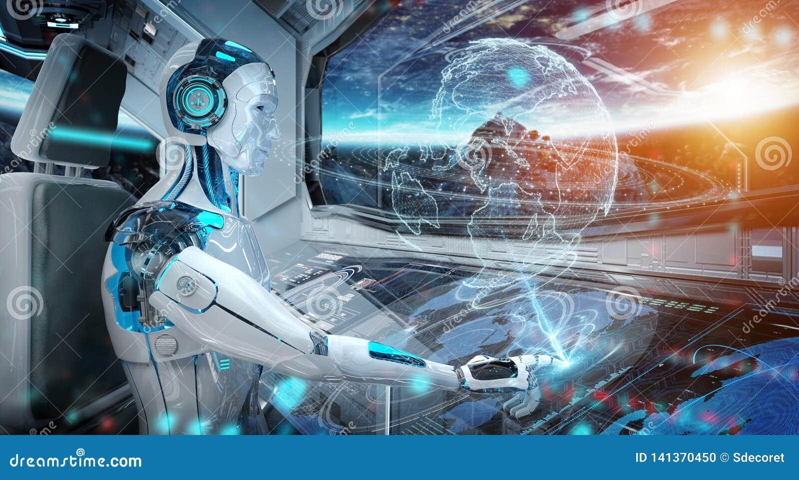 Robô em uma sala de comando que voa uma nave espacial moderna branca com opinião da janela no espaço e na rendição digital do hol