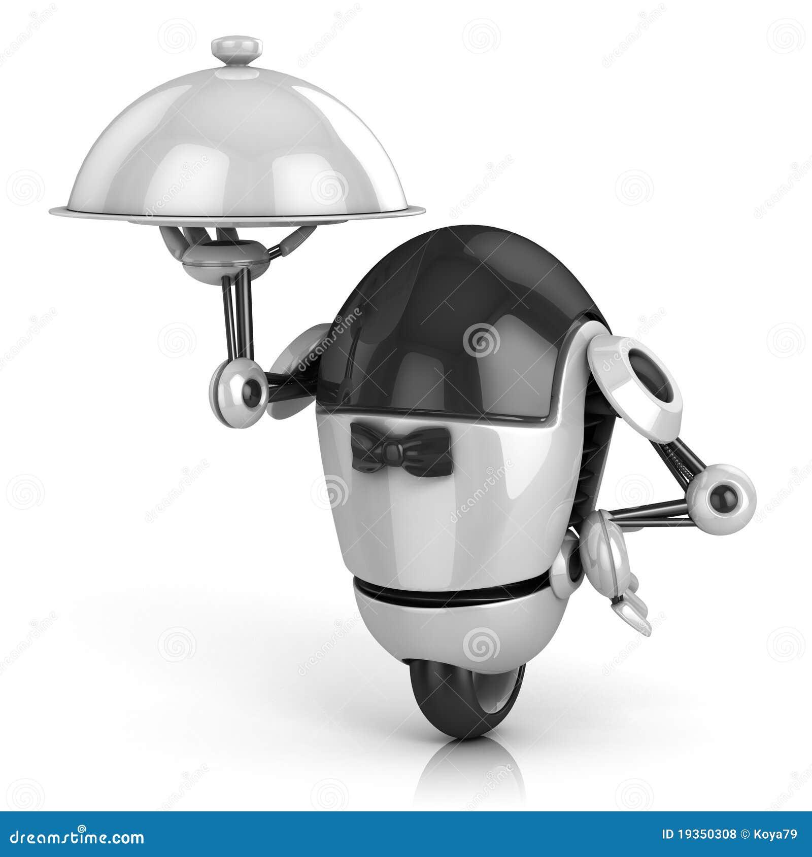 Robô engraçado - ilustração do empregado de mesa 3d