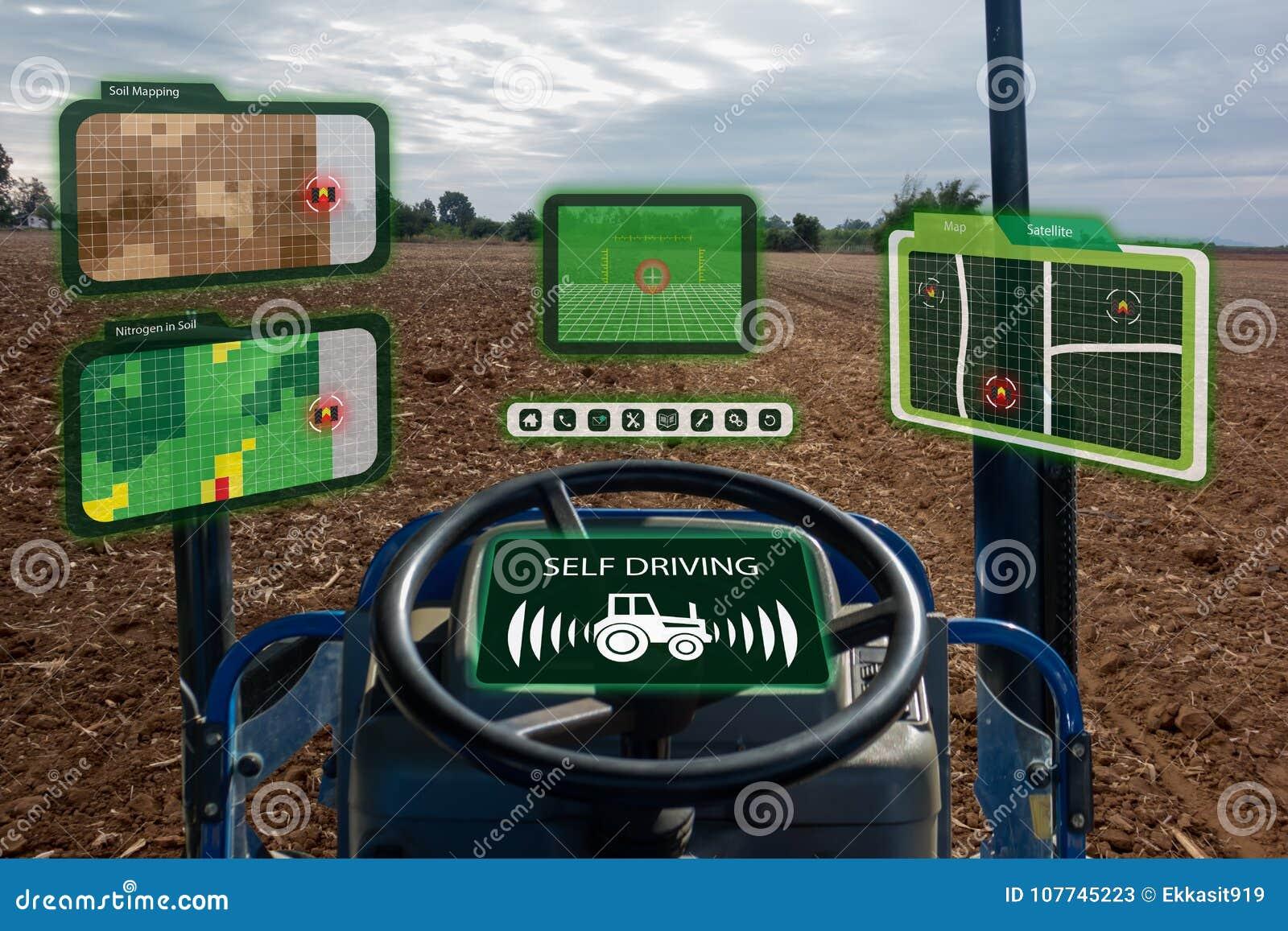 Robô esperto 4 da indústria de Iot 0 conceitos da agricultura, agrônomo industrial, fazendeiro que usa o trator autônomo com o au