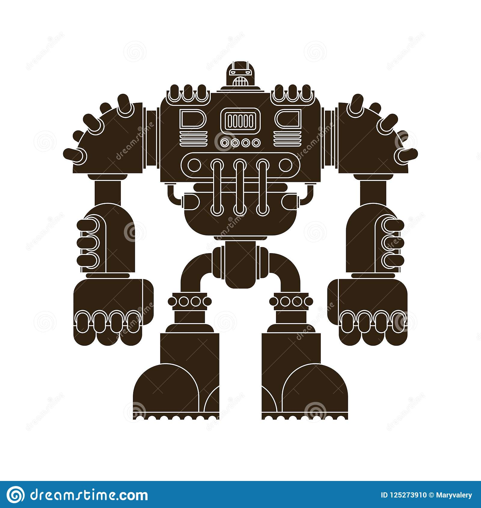 Robô isolado Futuro do guerreiro do Cyborg da batalha Vetor Illustratio