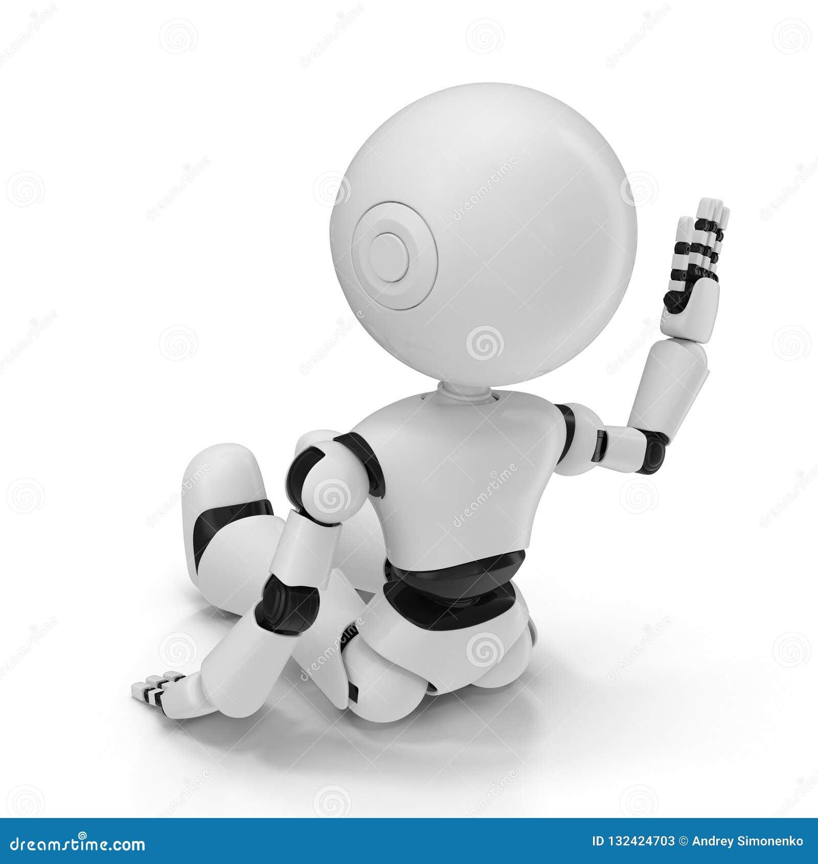 Robô moderno ilustração 3D isolada no fundo branco