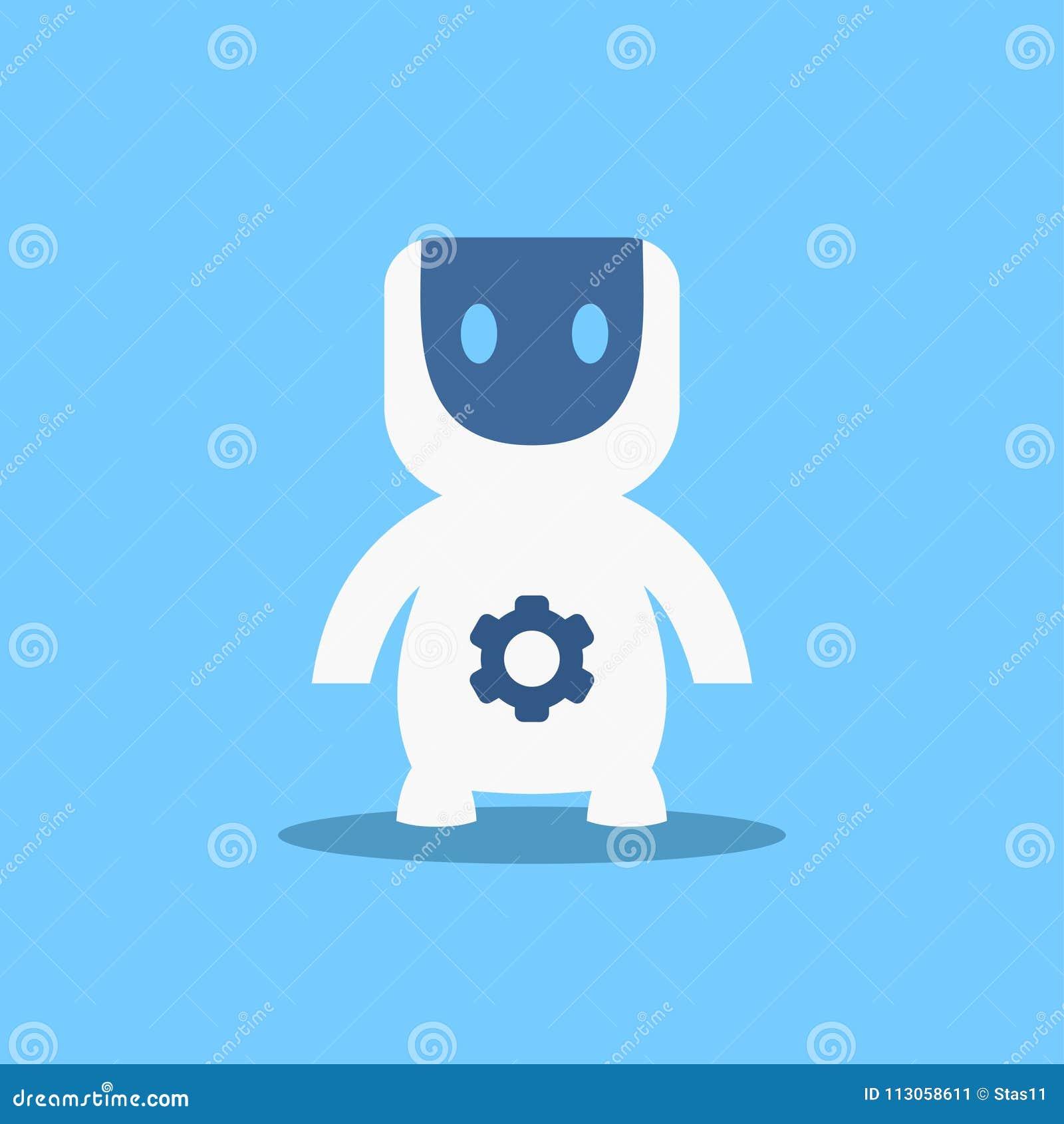 Robô moderno, ilustração lisa do vetor da tecnologia futurista do mecanismo da inteligência artificial