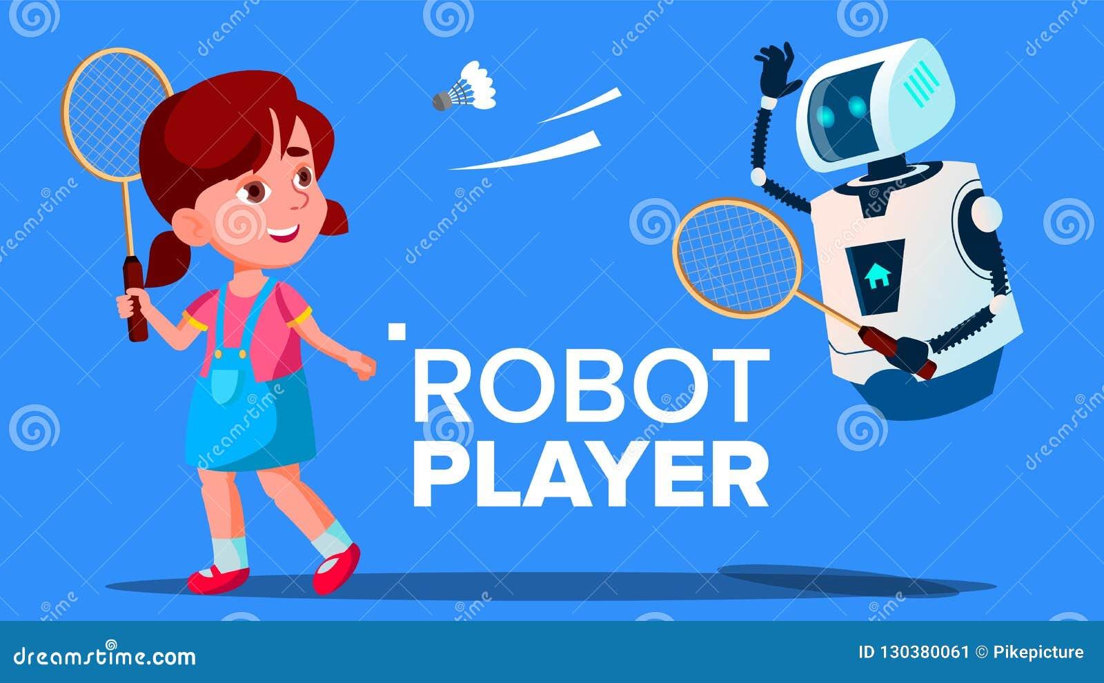 Robô que joga o badminton com um vetor da menina da criança Ilustração isolada