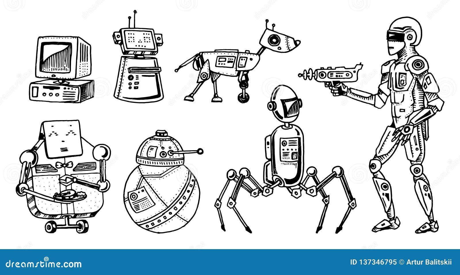 Robôs e evolução de tecnologia Desenvolvimento das fases dos androides Conceito da inteligência artificial Futuro tirado mão