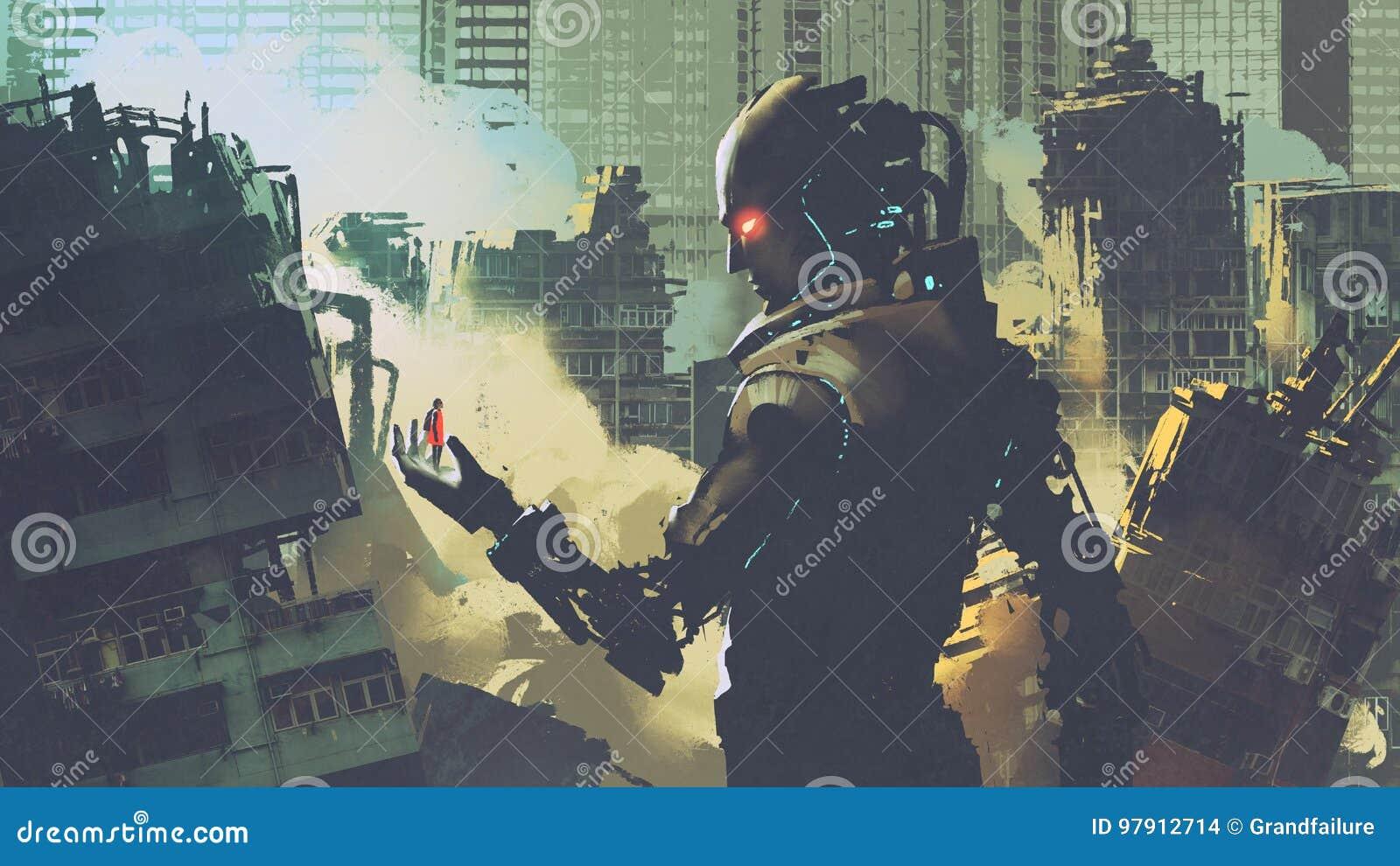 Robô futurista gigante que olha a mulher em sua mão