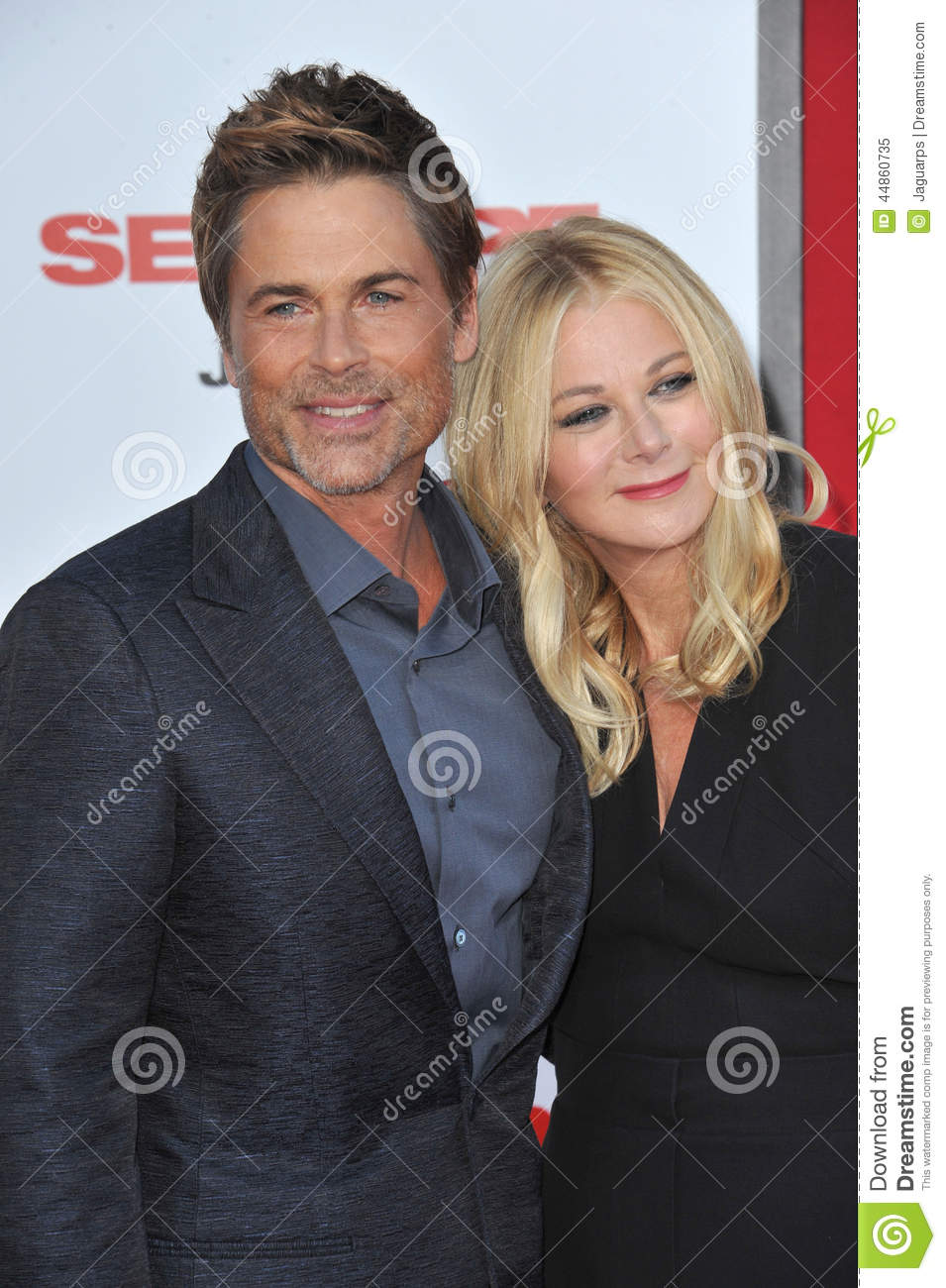LOS ANGELES, CA - JULY 10, 2014: Rob Lowe & wife Sheryl Berkoff at the  world premiere of his movie Sex Tape at the Regency Village Theatre,  Westwood.