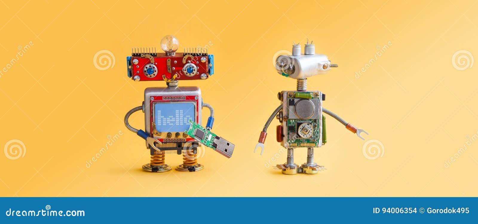 Robôs no fundo amarelo 4o conceito da automatização da Revolução Industrial Manutenção do servço informático, reparo do reparo El