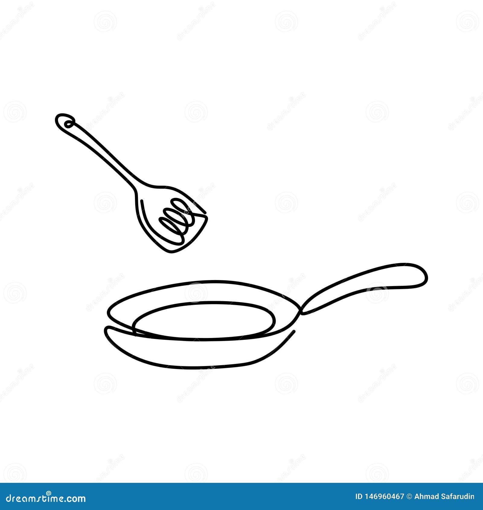 Roba di cucina della linea progettazione minimalista di disegno continua della padella una su fondo bianco