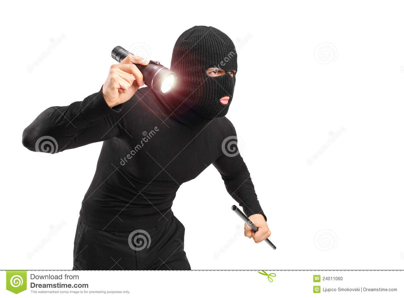 robber with robbery mask holding a flashlight and piece of pipe ...
