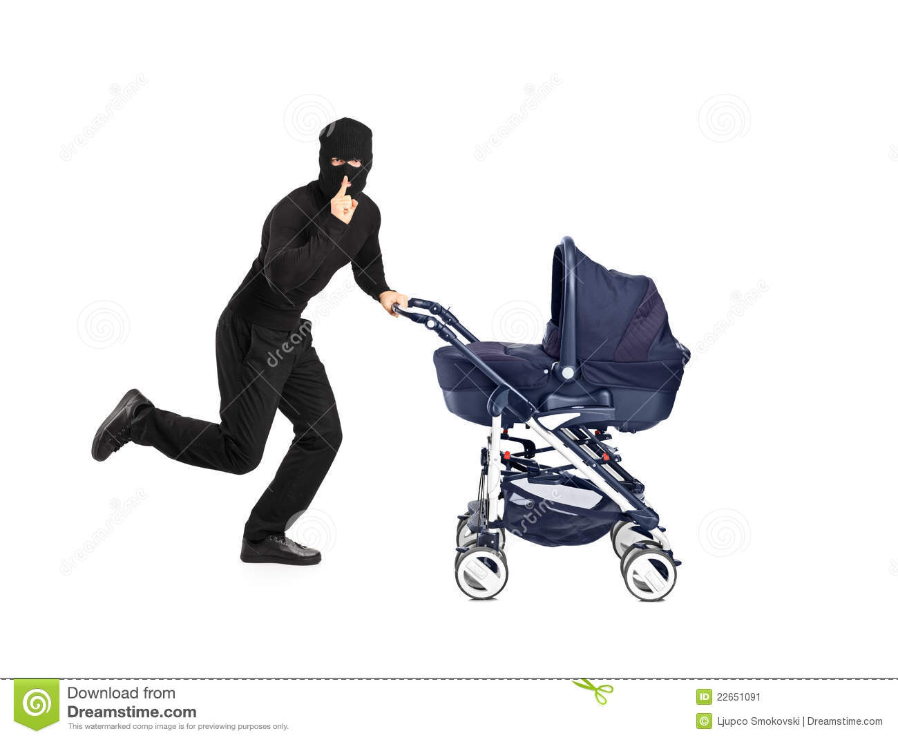 Robber Running And Pushing A Baby Stroller Stock Image