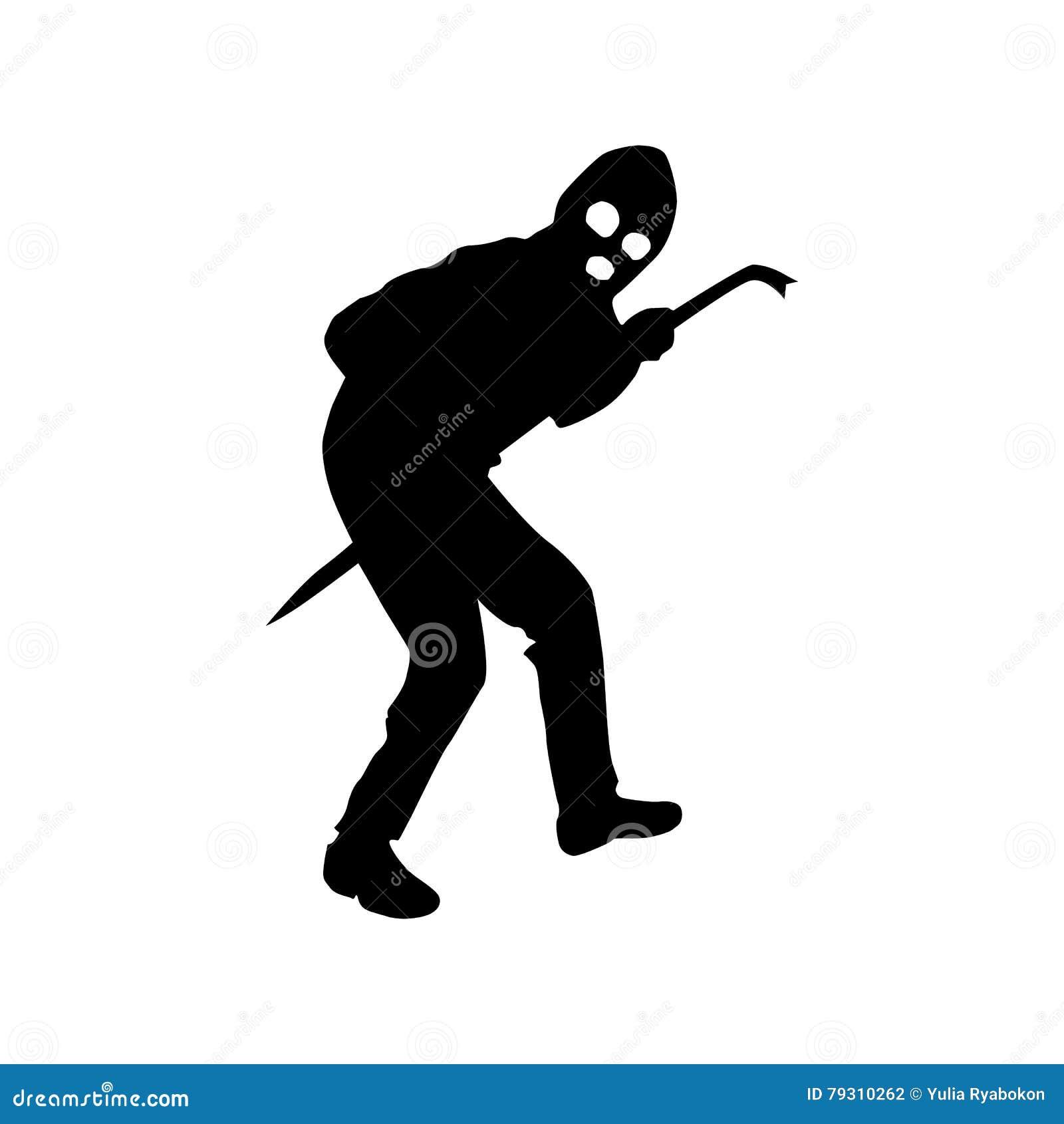 Robber Silhouette Black Vector Illustration