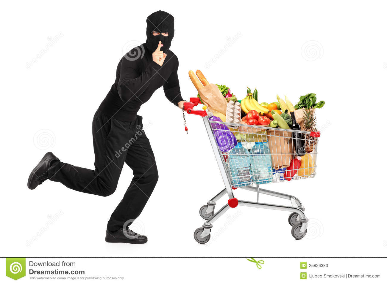 Robber Stealing A Pushcart With Products Stock Photos ...
