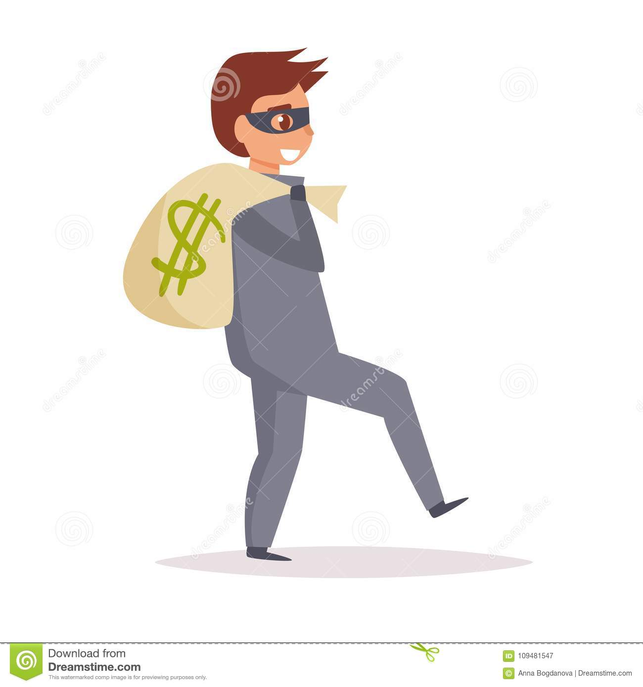 1c5f7ee9dc4 Robber. Vector. Cartoon. Isolated art on white background Flat. More  similar stock illustrations