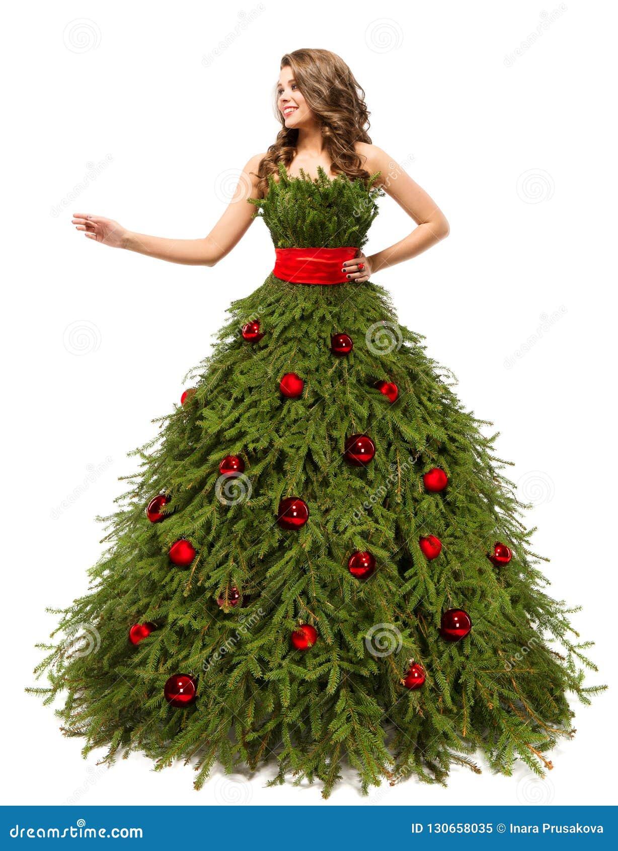 Cadeau De Noel à La Mode.Robe D Arbre De Noël Femme De Mode Et Cadeaux Actuels