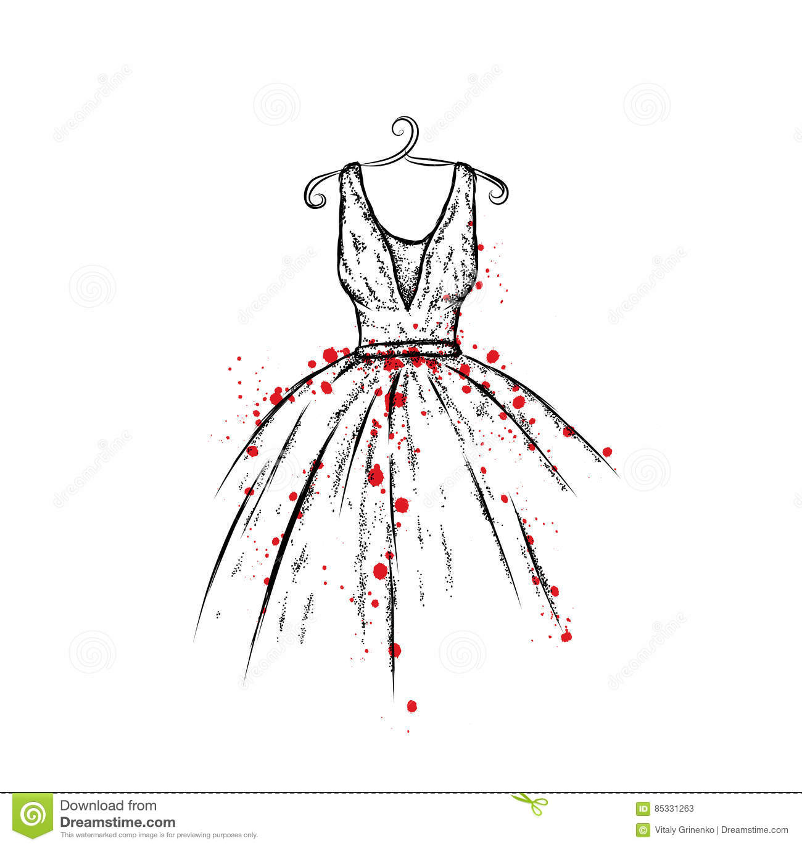 Robe dans le vecteur v tements de dessin de main cru mode - Dessin de fille de mode ...