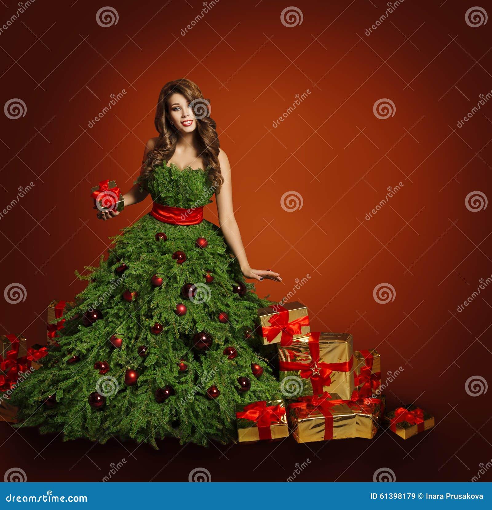 Robe de femme de mode d arbre de Noël, Girl modèle, présents de rouge