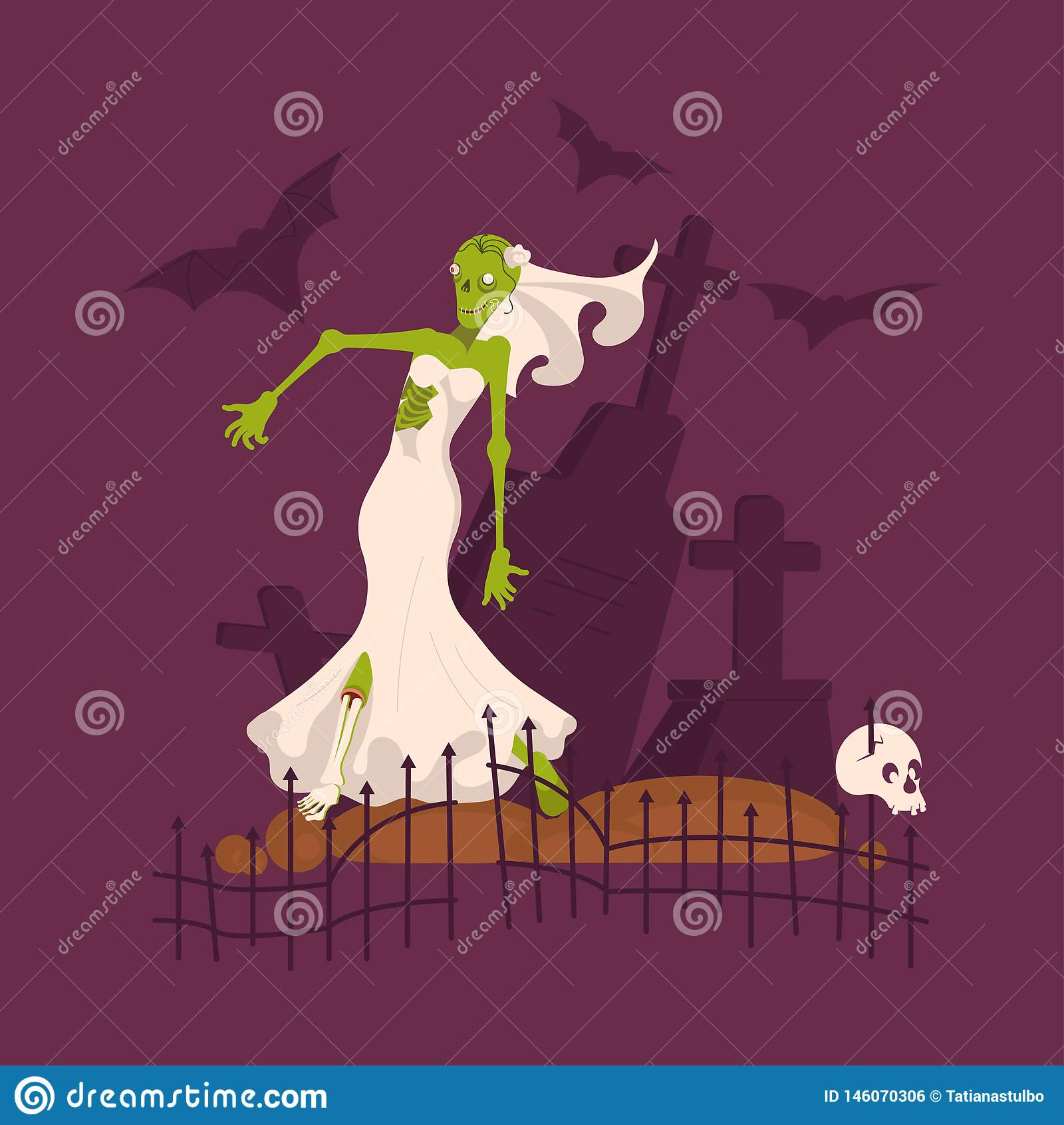 Robe de mariage de port de jeune mariée morte effrayante