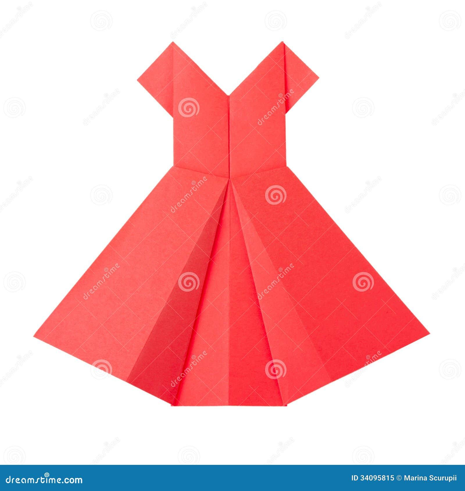 Robe rouge de papier d 39 origami photo libre de droits image 34095815 - Robe en origami ...
