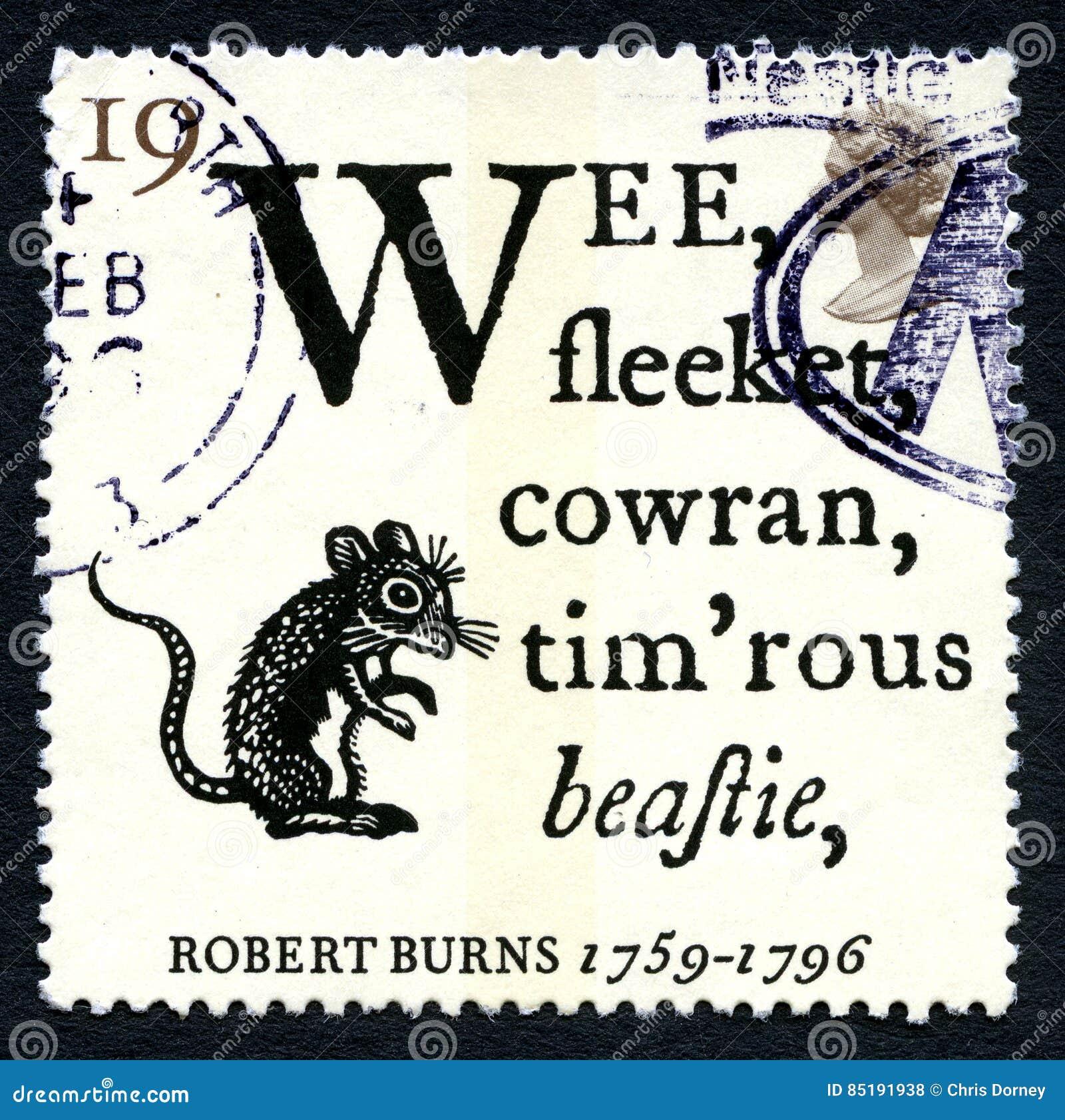 Robert Burns Wiersza Uk Znaczek Pocztowy Zdjęcie Stock