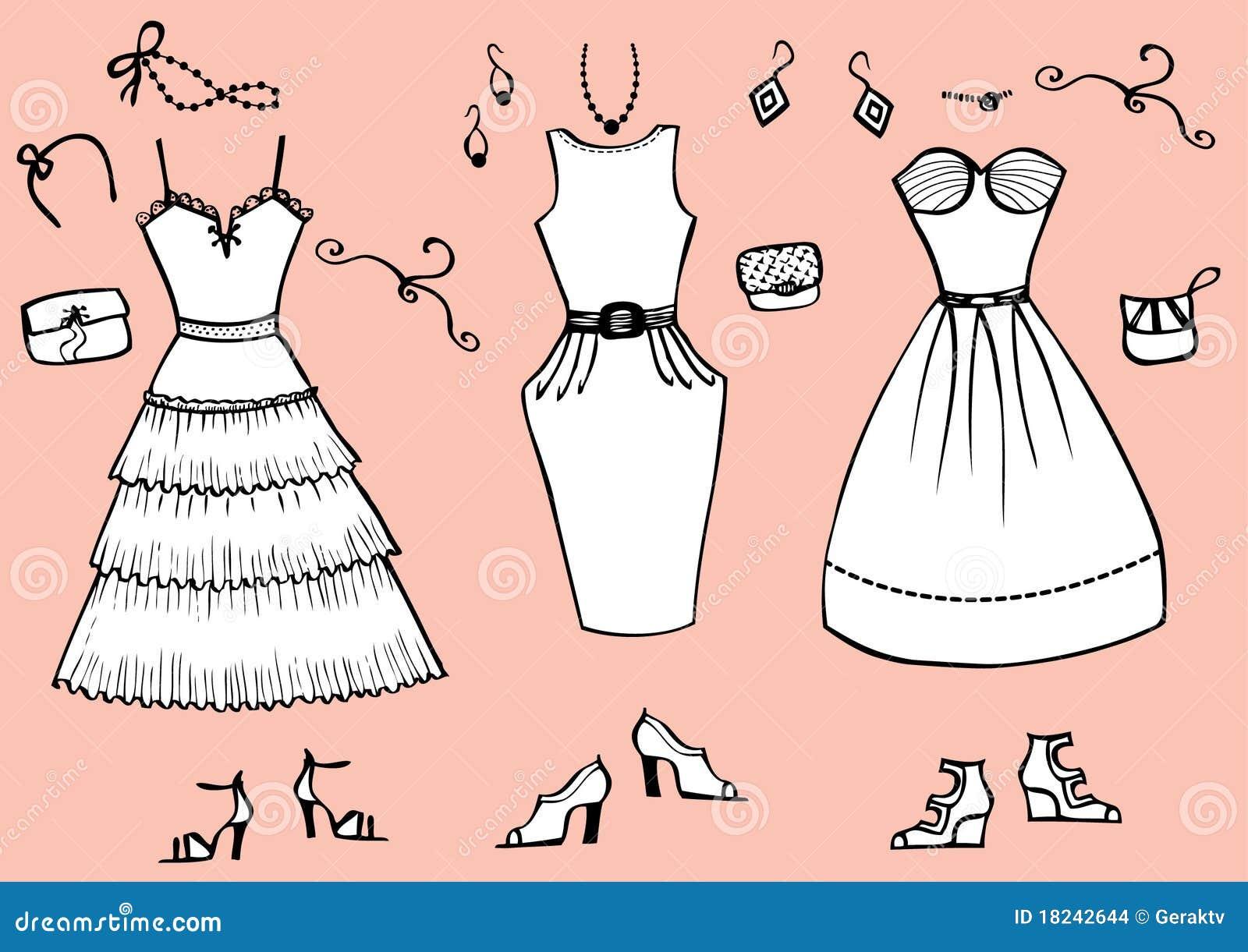 Download Robes Et Accessoires De Mode Illustration de Vecteur ,  Illustration du peinture, réception