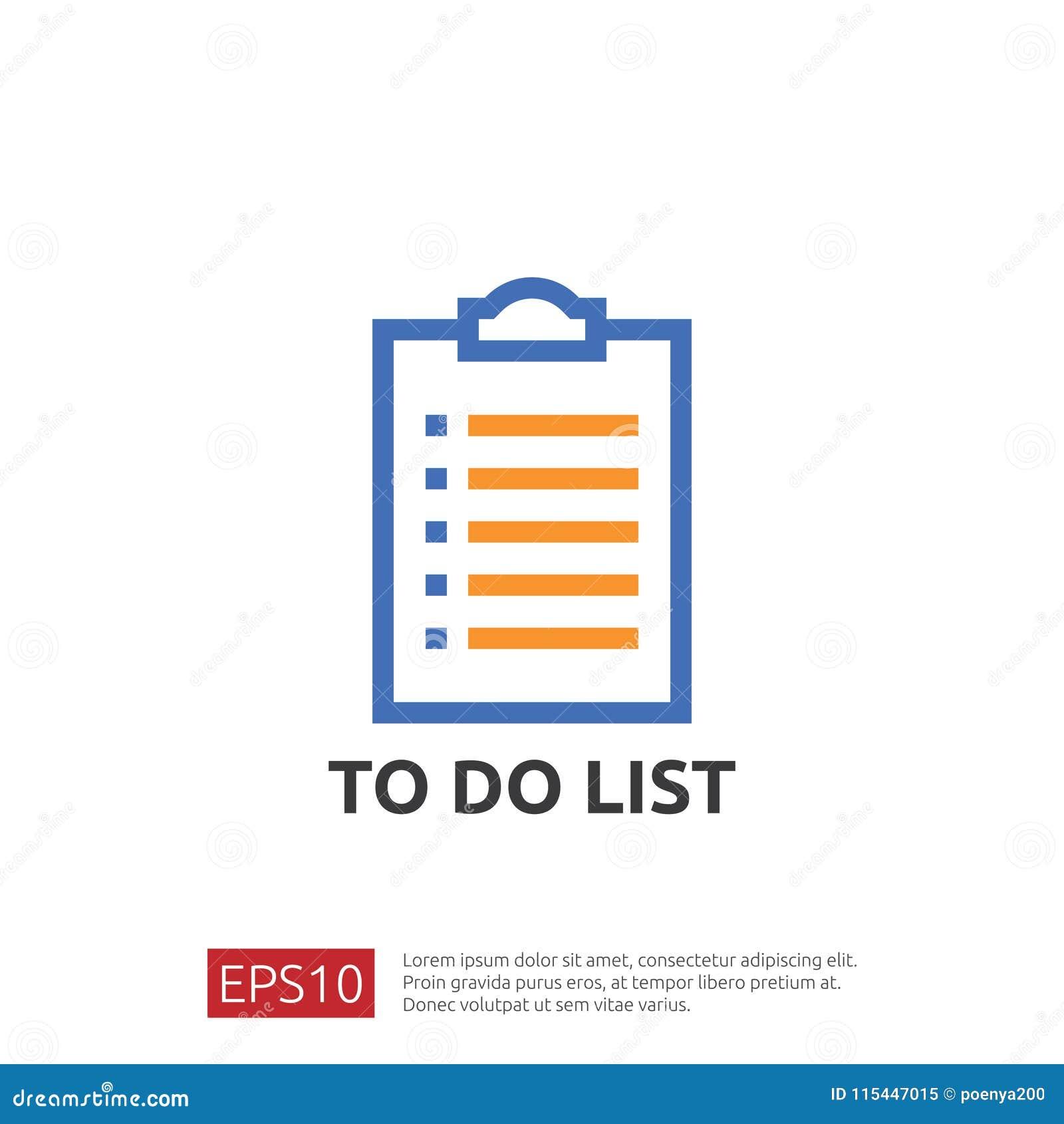 Robić listy lub planowania ikonie w mieszkaniu projektuje wektorowy ilustracyjny pojęcie lista kontrolna papieru prześcieradła pr