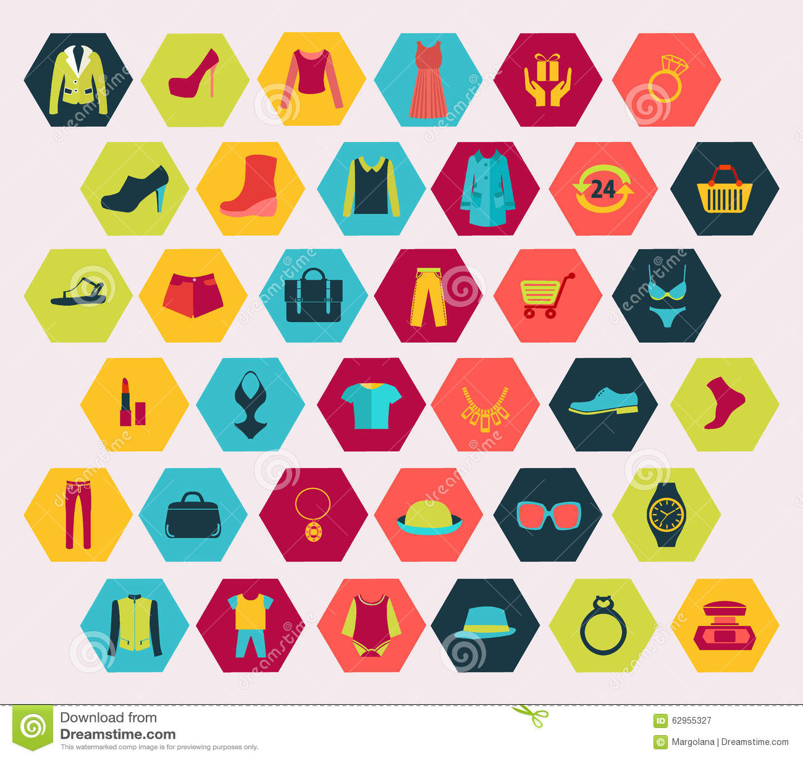 Robić zakupy i moda odnosić sie ikony ustawiać robić w sześciokąta kształcie