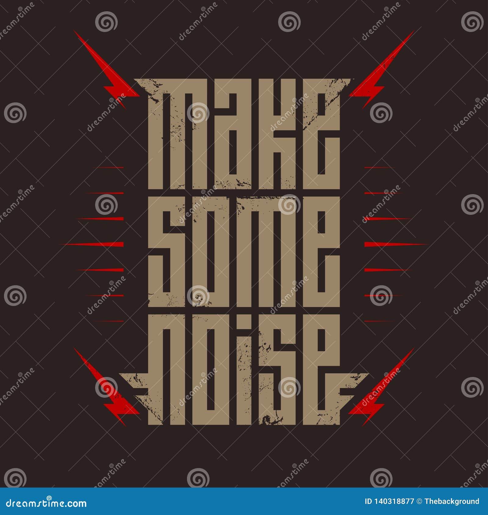 Robi Niektóre hałasowi - muzyczny plakat z czerwoną błyskawicą Rockowy koszulka projekt Koszulek apparels cool druk