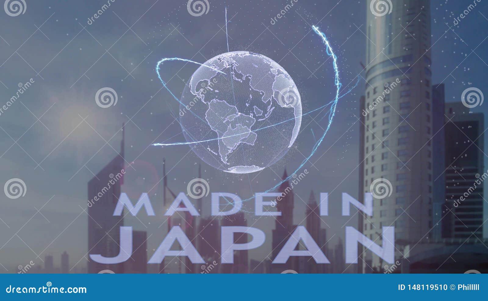 Robi? w Japonia tekscie z 3d hologramem planety ziemia przeciw t?u nowo?ytna metropolia