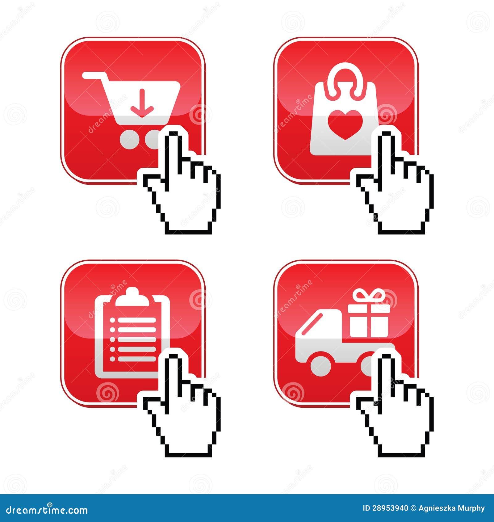 Robi zakupy guziki ustawiający z kursor ręki ikoną