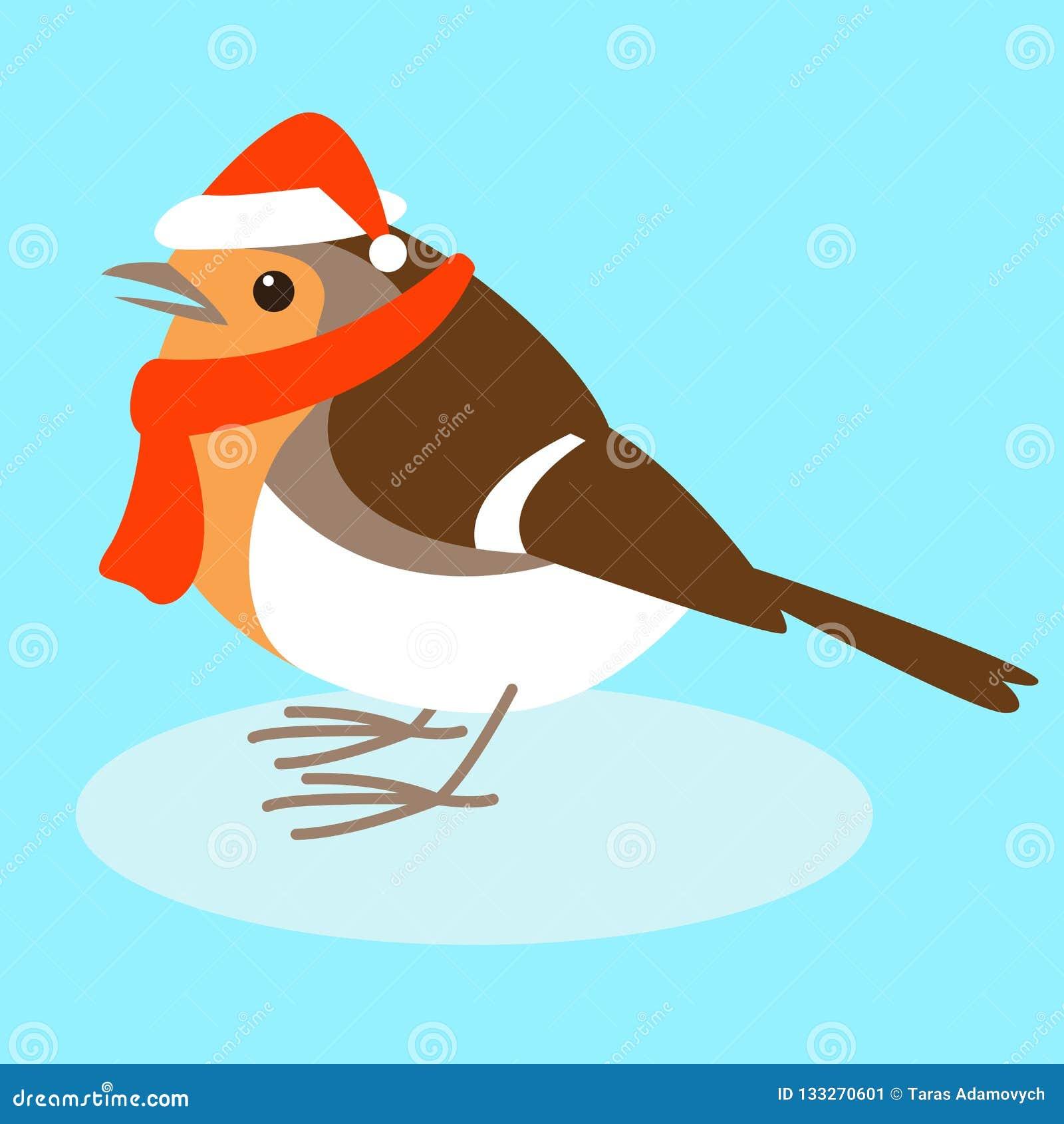 Robin dans le chapeau de Santa, illustration de vecteur, style plat,