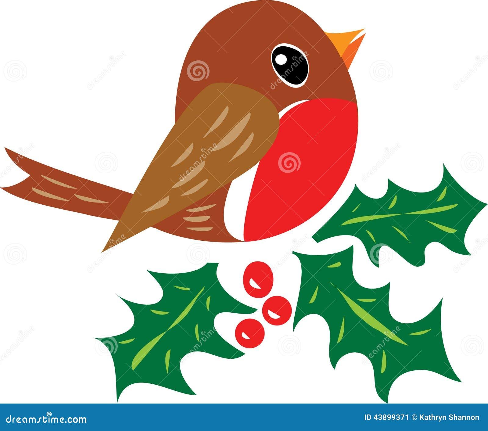cartoon illustration. A traditiional christmas robin redbreast ...