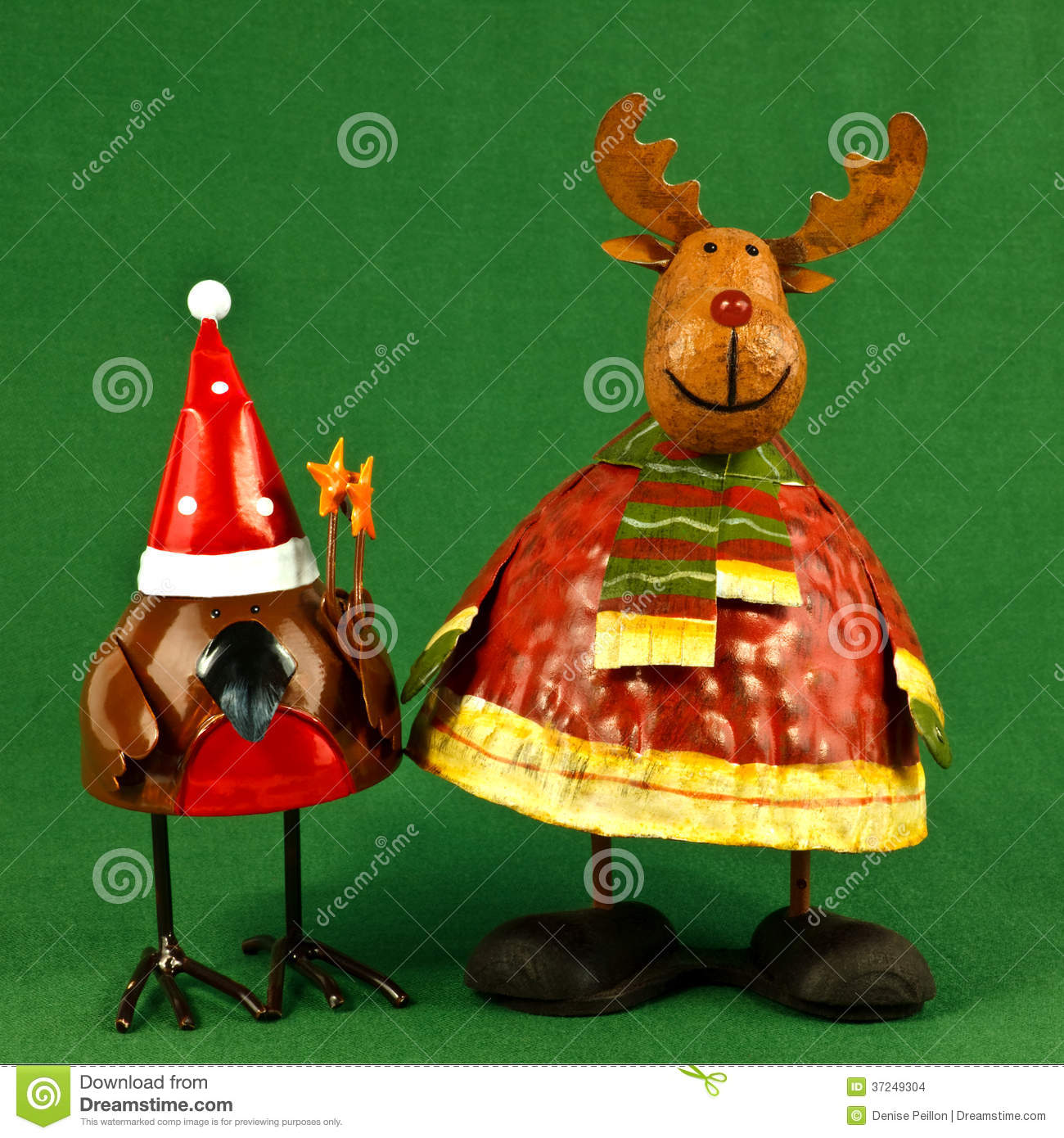 download robin and reindeer christmas decorations stock photo image of reindeer metal 37249304 - Metal Reindeer Christmas Decorations