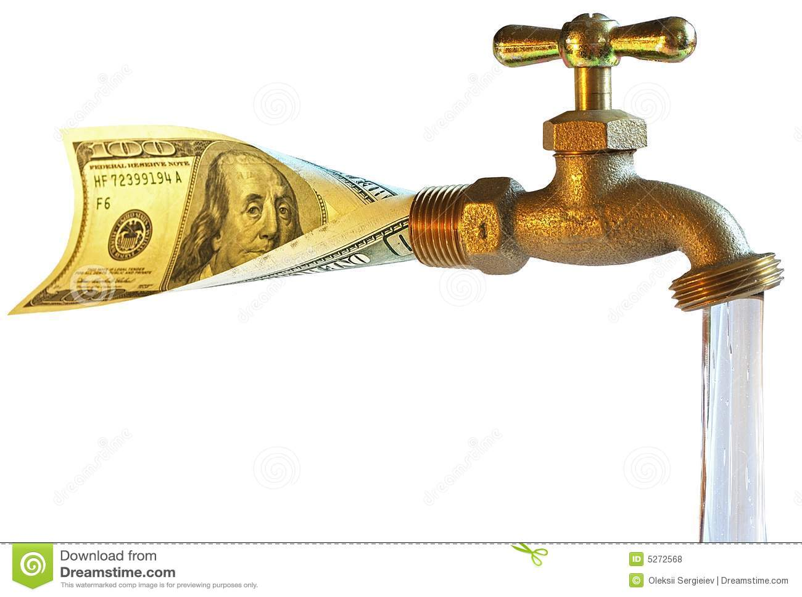 robinet traitant des dollars dans l 39 eau photos libres de droits image 5272568. Black Bedroom Furniture Sets. Home Design Ideas