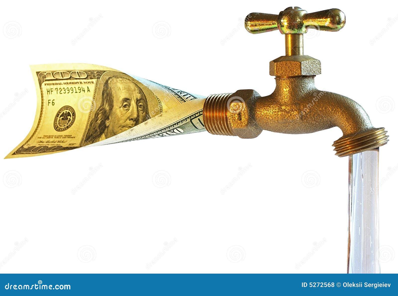 robinet traitant des dollars dans l 39 eau photos libres de. Black Bedroom Furniture Sets. Home Design Ideas
