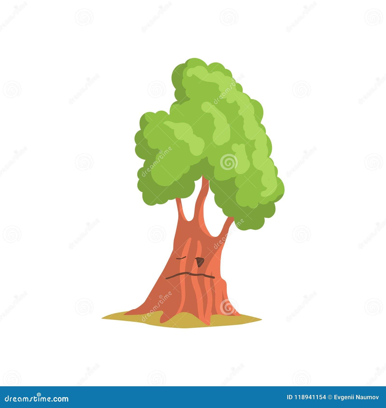 Roble verde con la cara Planta del bosque o del parque Elemento de la construcción del paisaje Diseño plano del vector para el ju