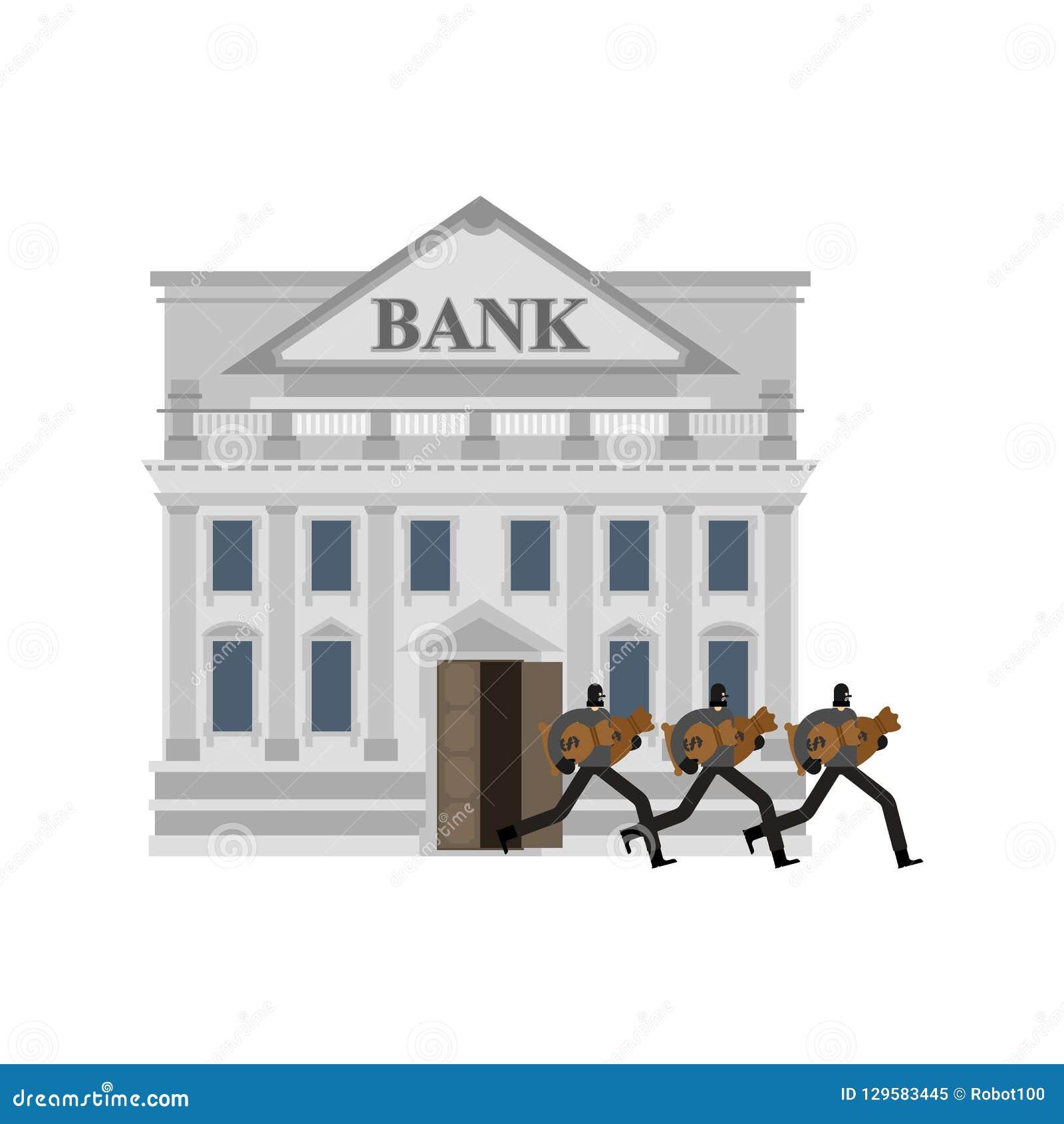 Robo de un banco Ladrón y bolso del dinero Ladrón en máscara plundere