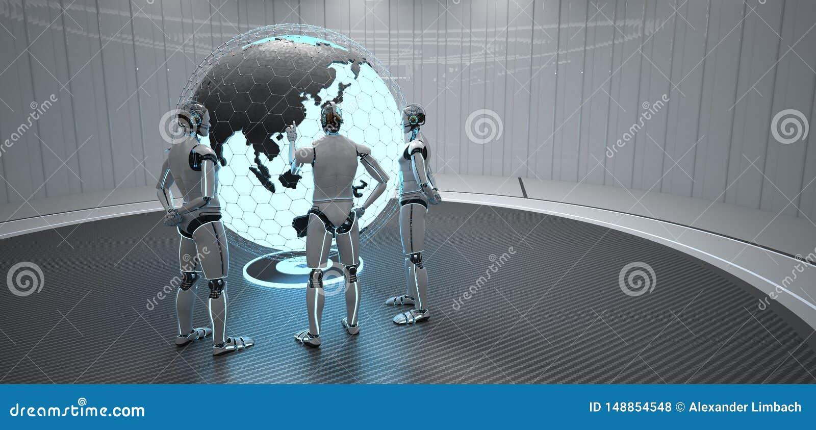 3 robot?w kula ziemska Chiny