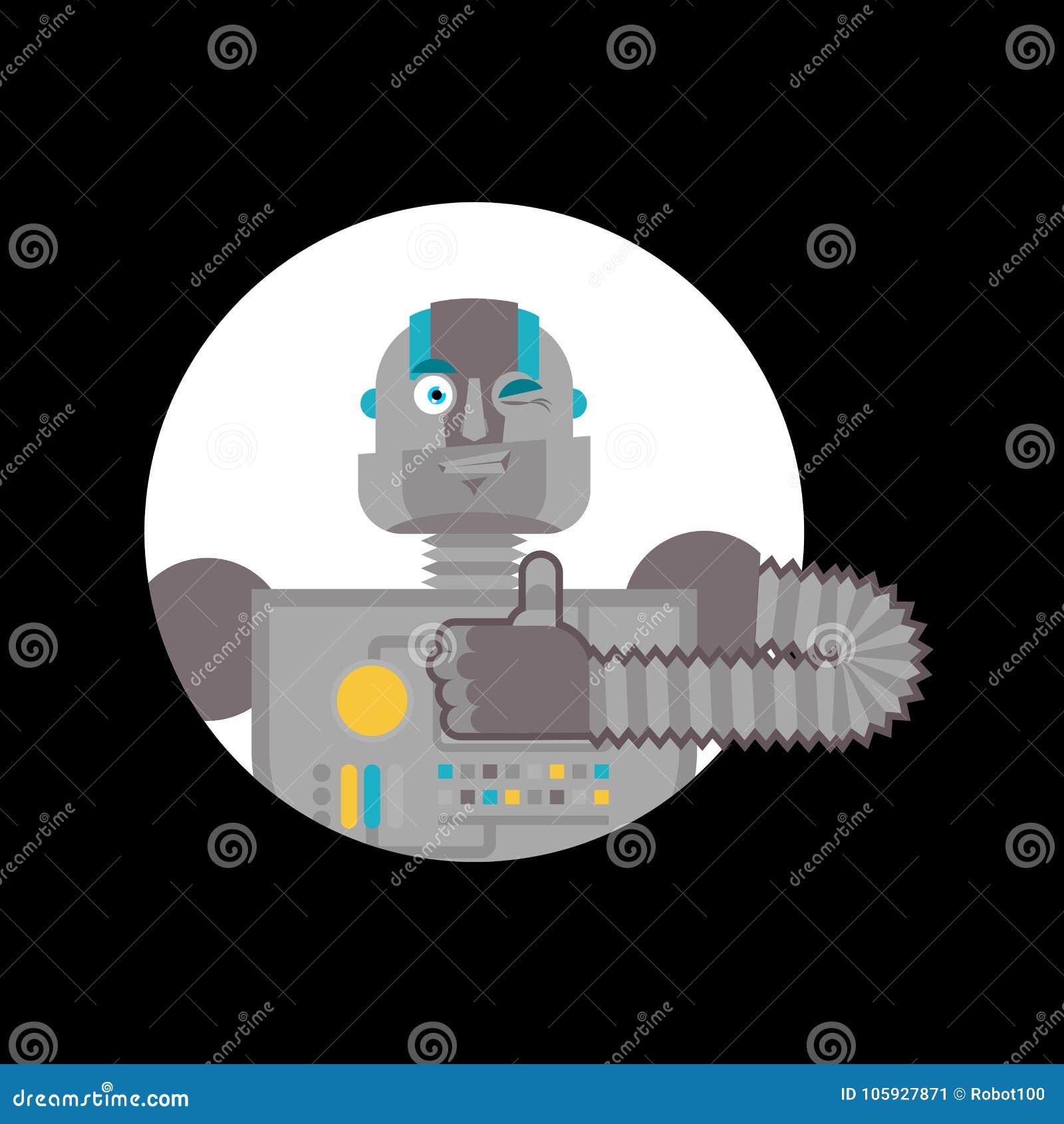Robotów mrugnięcia i aprobaty Cyborga szczęśliwy emoji Mechaniczny mężczyzna Vecto