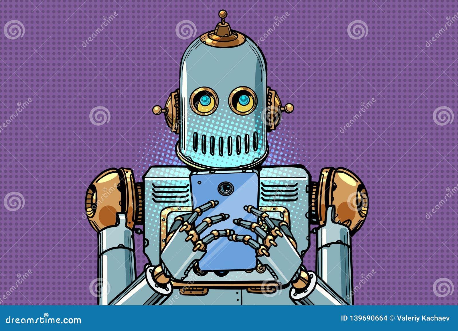 Robotów spojrzenia przy smartphone