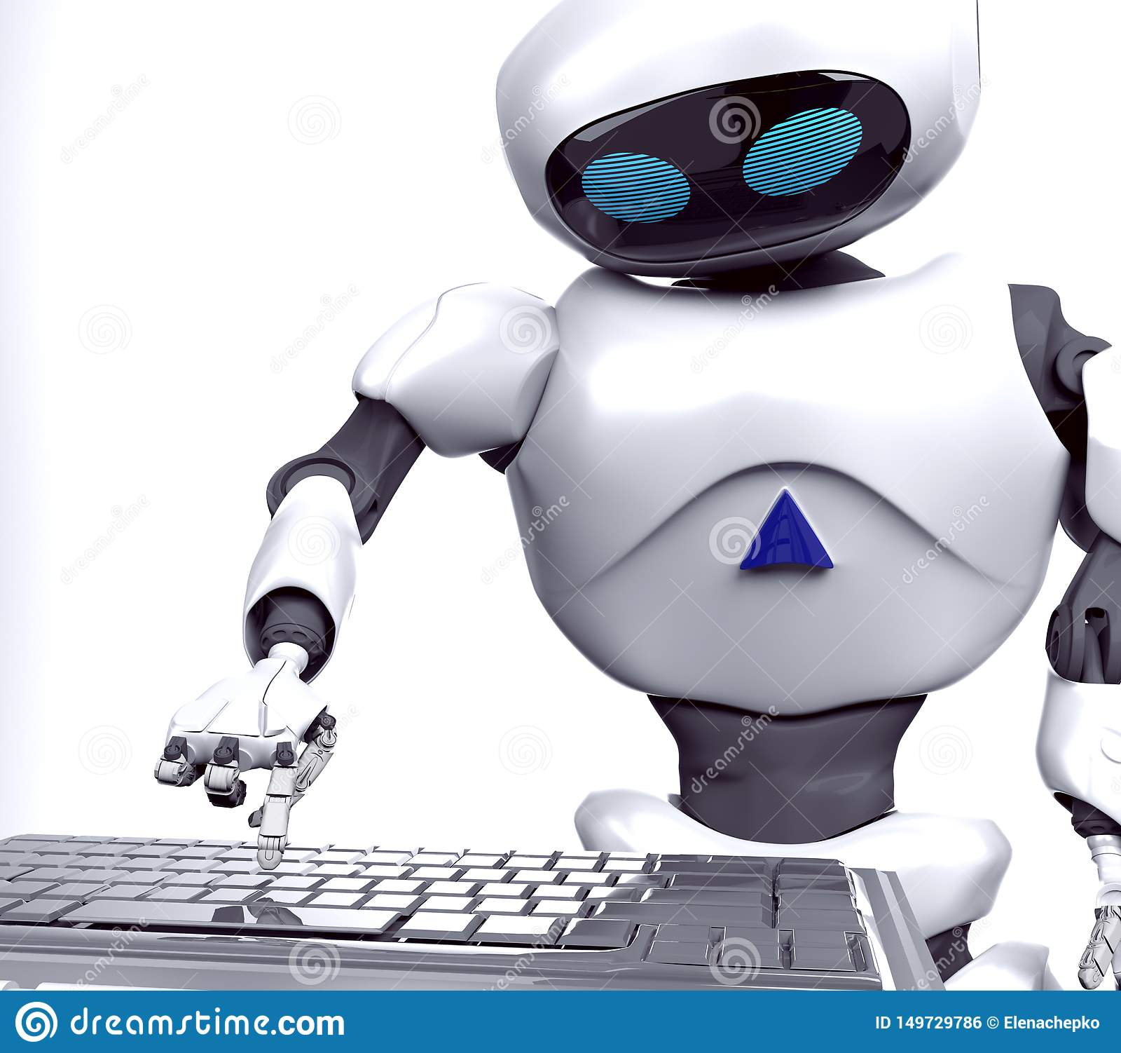 Robot żeńska praca na notatniku, komputer, 3d, odpłaca się