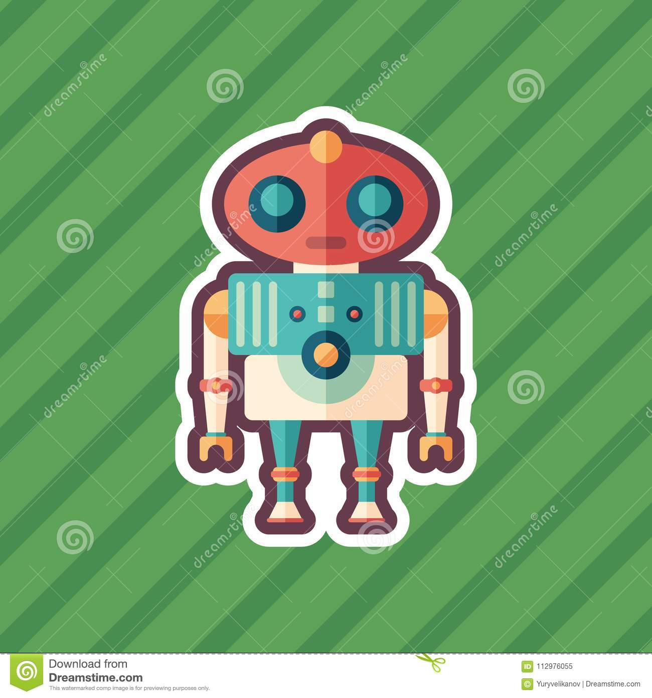 Robot alien sticker flat icon with color background.