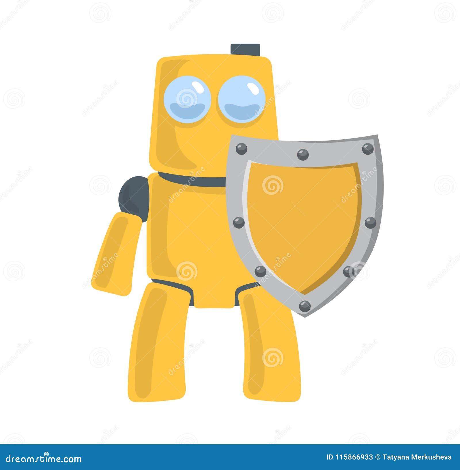 Robot amarillo amistoso con el escudo Protector del robot Carácter del juguete Ejemplo plano del vector Aislado en blanco
