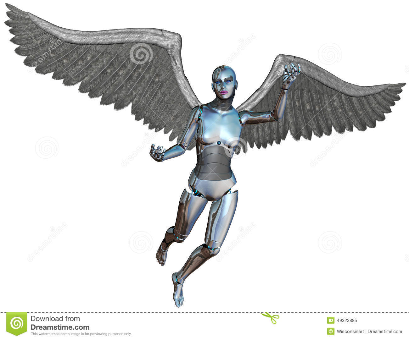 Robot Android Cyborg Angel Isolated Stock Photo - Image ...