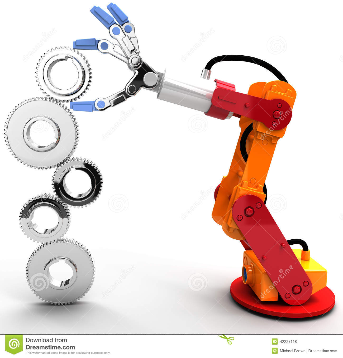Robot arm build technology growth gear stock illustration image