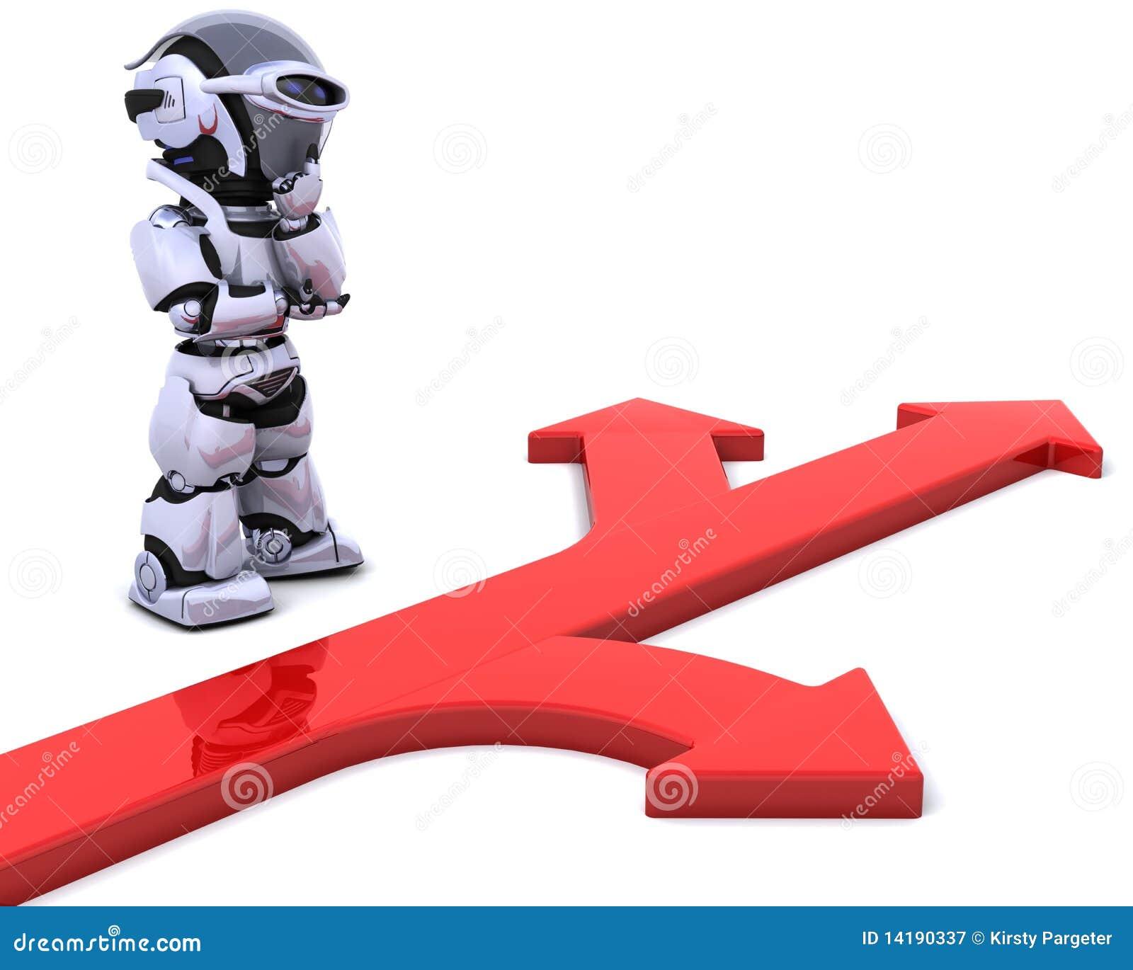 Robot with arrow symbol