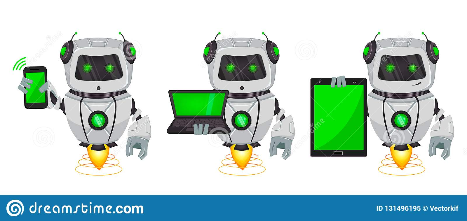 Robot With Artificial Intelligence, Bot, Set Of Three Poses. Funny ...