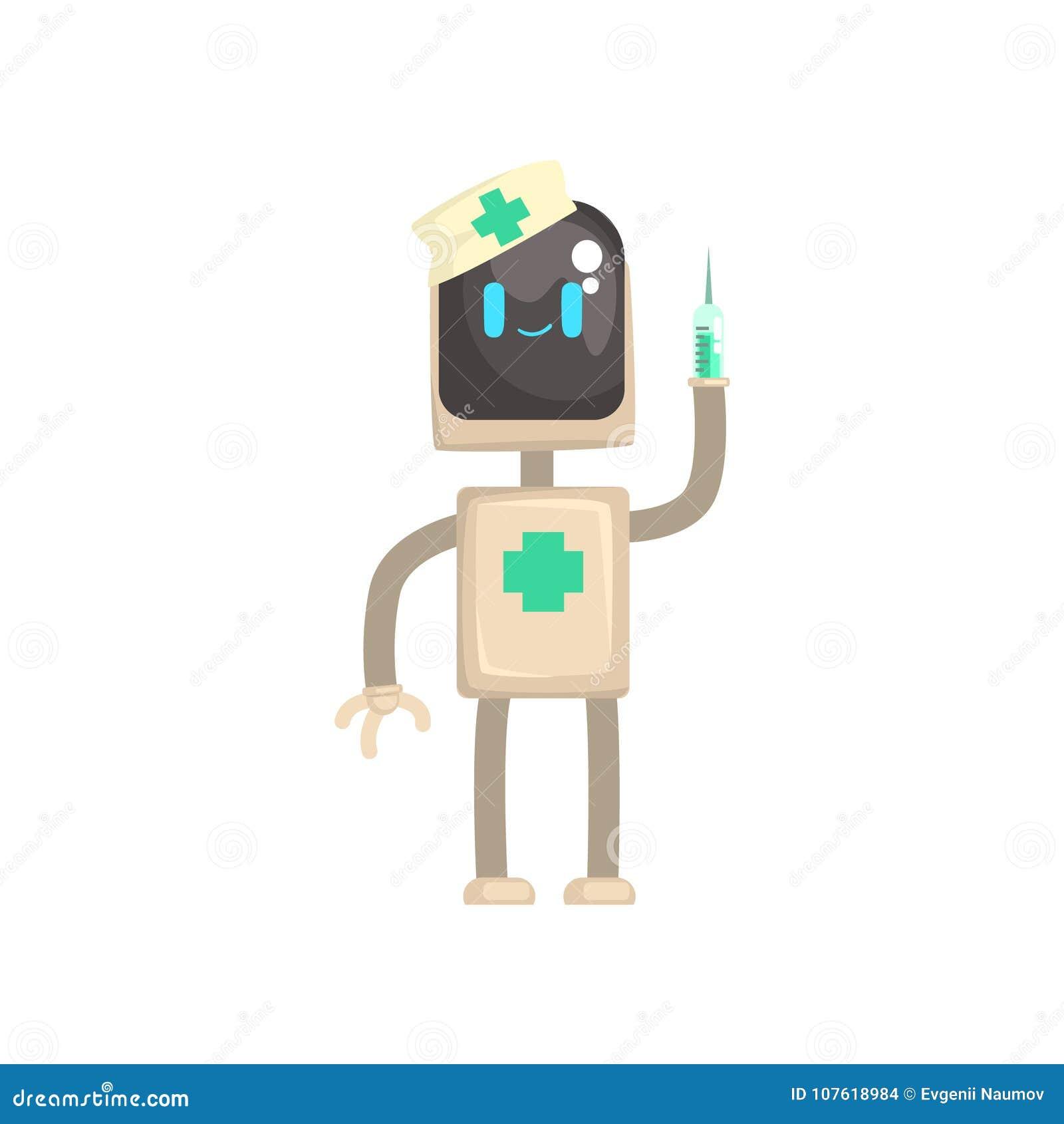 Robot artsenkarakter, androïde met spuit in zijn vectorillustratie van het handenbeeldverhaal